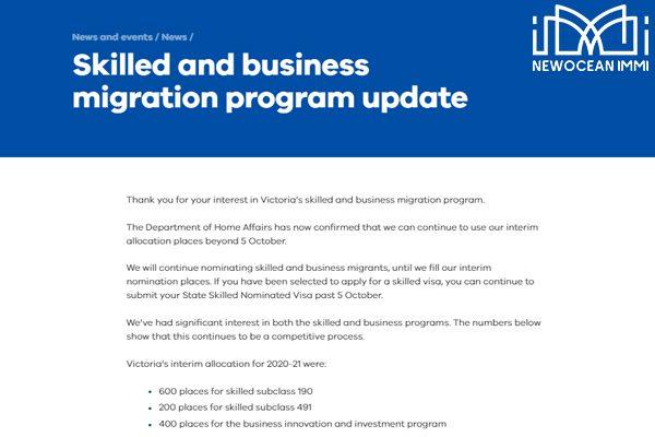Bang Victoria kéo dài thời gian nhận hồ sơ thị thực sau ngày 05/10/2020