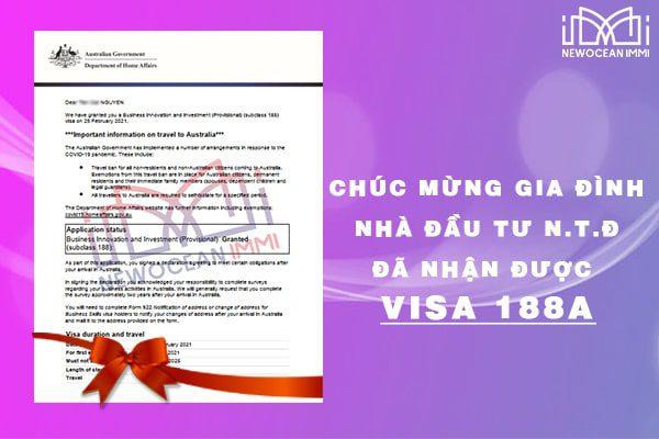 Chúc mừng nhà đầu tư tiếp theo nhận được Visa từ Bộ Nội Vụ Úc